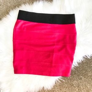 Stooshy Hot Pink And Black Body Con Skirt